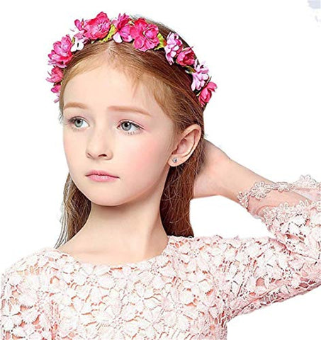 Forest & Rural Style Red Beautiful Queen Princess Bridal Flower Garland Wristband Wreath Headband Crown Hair Decor