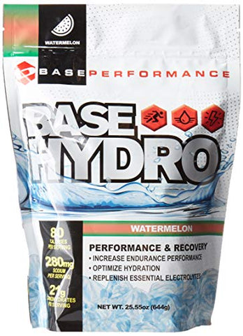 BASE Performance Hydro - Watermelon | 28 Servings Within Each eco-Friendly Mylar Bag | Blend of Dextrose, Fructose, maltodextrin and Essential Electrolytes. (Watermelon)