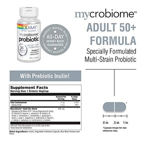 Solaray Mycrobiome Probiotic Adult 50+ Formula | Healthy Digestion, Metabolism, Energy, Colon & Urinary Tract Support | 30 Billion CFU | 30 VegCaps