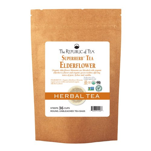 The Republic of Tea Organic Elderflower Superherb Herbal Tea, 36 Tea Bags, Cold Season Tea Blend