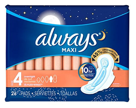 Always Pads Maxi Overnight Size 4-26 Count (3 Pack)