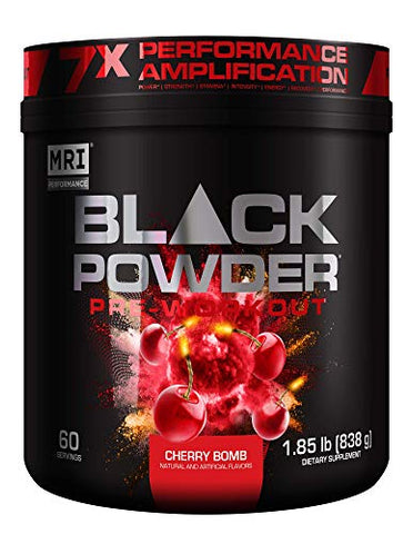 MRI Black Powder Pre-Workout Powder - Explosive Energy & Stamina - Intense Strength and Focus - Build Muscle - Recover Faster ?? Creatine - 60 Servings (Cherry Bomb)