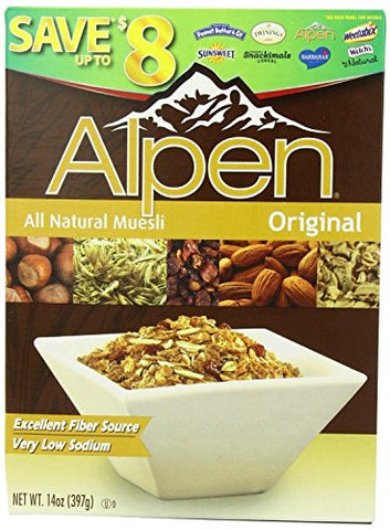 Alpen All Natural Organic Muesli Cereal, Original, 14-ounce Boxes (Case of 12)