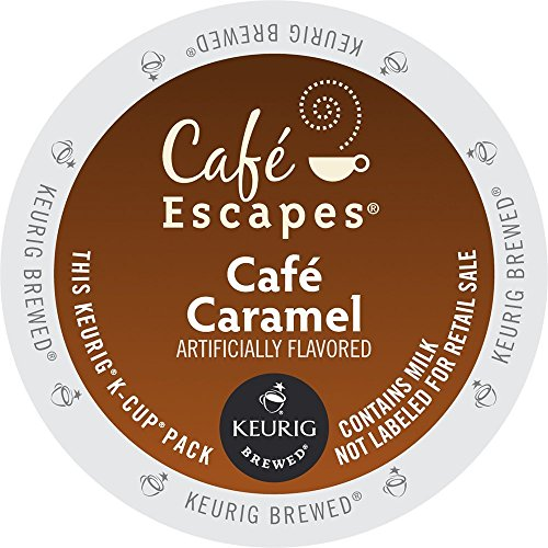 Cafe Escapes Keurig K Cups, Caramel, 0.51oz(14.6g)/netwt 12.3 oz(350g)48 Count