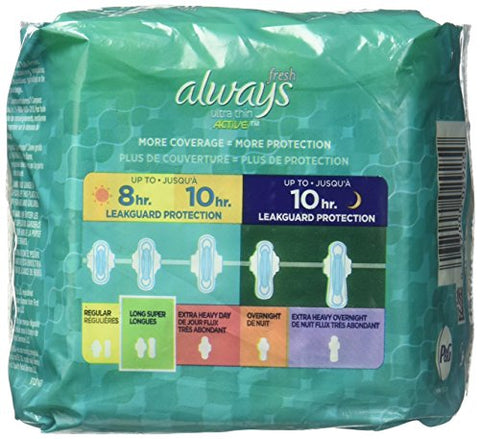 Always Pads Long/Super with Wings, Scented - 14 ct