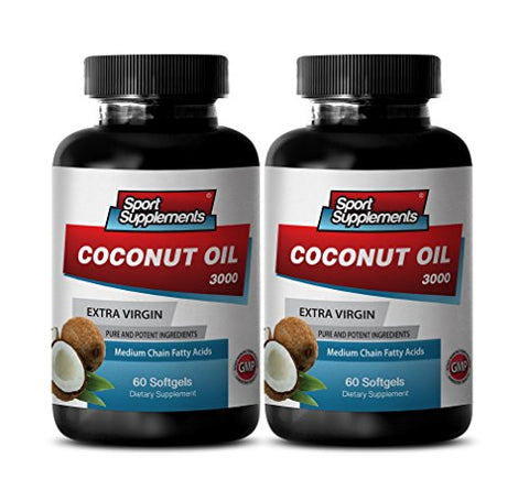 Organic Coconut Oil Caps - Extra Virgin Coconut Oil 3,000mg - Top Coconut Oil Herbal Enhancement (2 Bottles 120 Softgels)