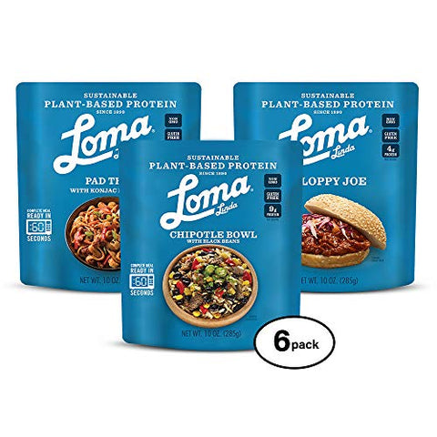 Loma Linda Plant-Based Easy Meal Solutions - Chipolte Bowl, Sloppy Joe, & Pad Thai (10 oz. pouches) (Pack of 6)