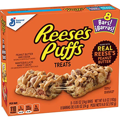 Cereal Treat Bars Reese's Puffs, 6.8 oz Box (Pack of 6)