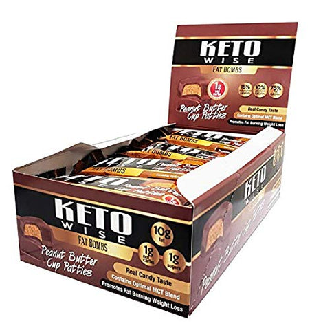 Keto Wise Fat Bombs - Peanut Butter Cup Patties - High Protein, Low Cal, Low Carb, Low Sugar - 16 Packs 34g Each