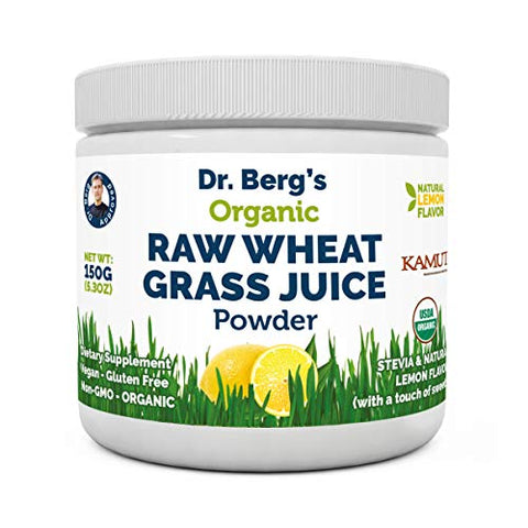 Dr. Berg's Natural Lemon Flavored Wheat Grass Powder With Kamut Tm   Raw & Ultra Concentrated Nutrien