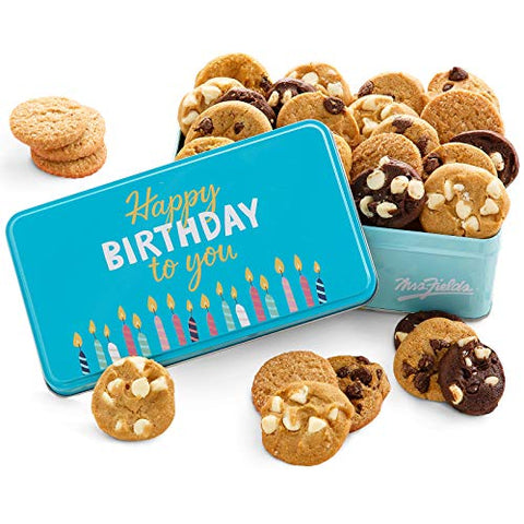 Mrs. Fields Cookies Happy Birthday Nibblers Tin, Includes 5 Different Flavors, Chocolate Chip, 30 Count