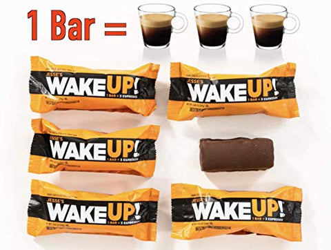 WAKE UP (1 Bar = 3 ESPRESSOS): Gluten Free Energy Bar, 250mg of Plant Based Caffeine to Boost Brain Focus, Clarity, Sustained Energy Fuel: 110 Calories, Kosher, Vegan, Non GMO, Dark Chocolate Flavor R