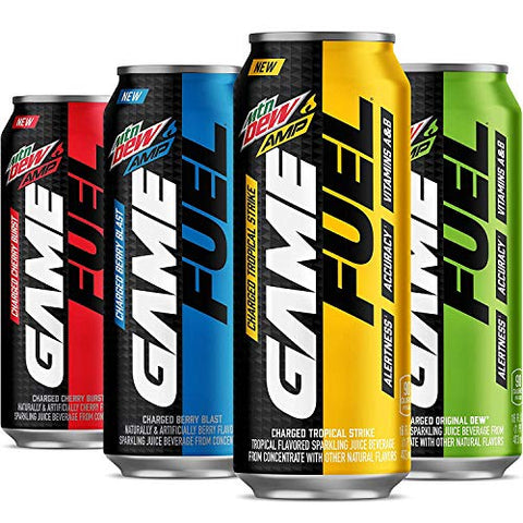 MTN DEW AMP GAME FUEL, 4 Flavor Variety Pack, 16fl.oz. (Pack of 8)