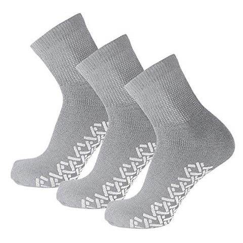 3 Pairs of Non-Skid Diabetic Cotton Quarter Socks with Non Binding Top (Grey, 9-11)