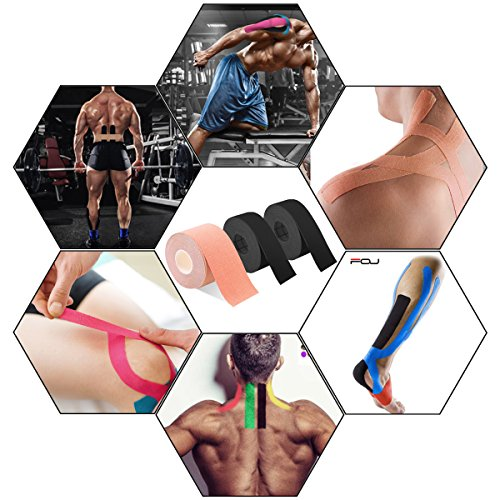 Kinesiology Theraeputic Tape Physio for Athletic Sports Recovery Pain Relieve Strong Adhesion Waterproof Original Cotton Uncut 1roll 2inch x 16.4ft / 2rolls 1inch x 16.4ft (1 Black/2 Beige)