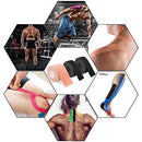 Image of Kinesiology Theraeputic Tape Physio for Athletic Sports Recovery Pain Relieve Strong Adhesion Waterproof Original Cotton Uncut 1roll 2inch x 16.4ft / 2rolls 1inch x 16.4ft (1 Black/2 Beige)