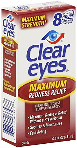 Clear Eyes Maximum Strength Redness Relief Eye Drops 0.50 oz (Pack of 9)