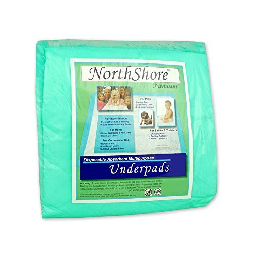 NorthShore Premium, 36 x 36, 40 oz, Green Super-Absorbent Underpads (Chux), Ultra Large, Pack/10
