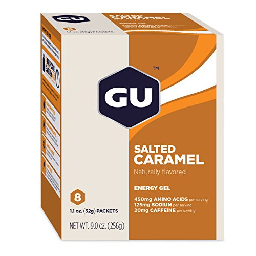 GU Energy Original Sports Nutrition Energy Gel, Salted Caramel, 8 Count Box