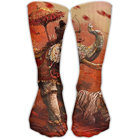 Unisex Elephant Tiger Red Pattern Printed Sports Crew Socks Athletic Casual Sock