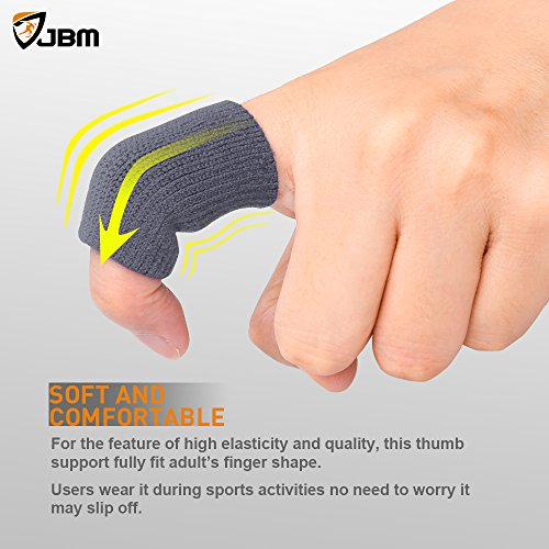 JBM Adult Finger Brace Splint Sleeve Thumb Support Protector Soft Comfortable Cushion Pressure Safe Elastic Breathable for Basketball Volleyball Baseball Badminton Tennis Boating Gym (Grey)