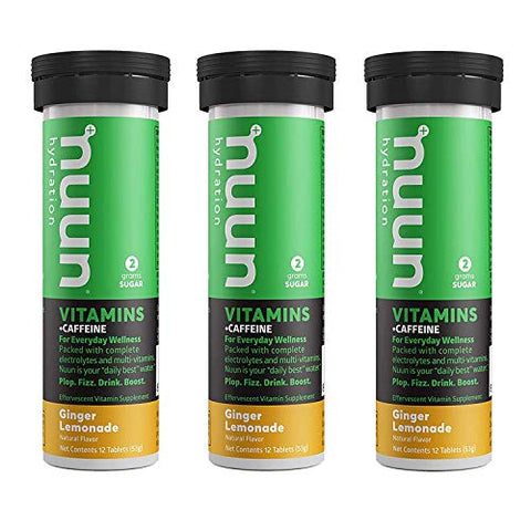 Nuun Vitamins + Caffeine: Ginger Lemonade Daily Supplement (3 Tubes of 12 Tabs)
