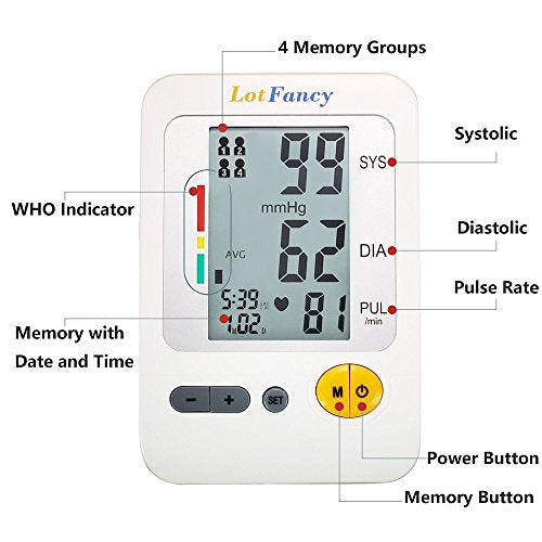 LotFancy Upper Arm Blood Pressure Monitor, 4-Users, 120 Memory, Fully Automatic Blood Pressure Monitor with Medium Cuff, Digital BP Meter with Large LCD Display, Storage Bag Included, FDA Certificate