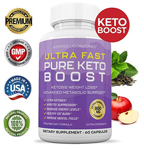 Ultra Fast Pure Keto Boost Pills Advanced BHB Ketogenic Supplement Exogenous Ketones Ketosis for Men Women 60 Capsules 2 Bottles