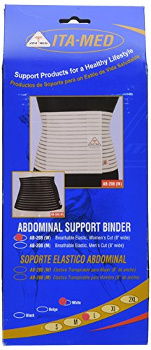 Ita Med Womenâ??S Breathable Abdominal/Back Support Binder Ab 208: White Large