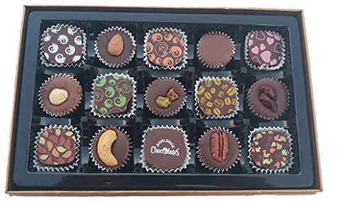 Valentines Vegan Gluten Free Dark Chocolate, Kosher Parve, 15 Piece Gift Box