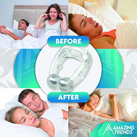 Magnetic Silicone Nose Clip Device to Prevent Snoring, This Anti Snore Product is Great Sleeping Aid Suitable for Both Men and Women to give a Relaxing and Quiet Sleep. (2 PCS)