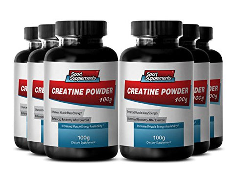 Best Creatine Supplements - Creatine Powder 100mg - Natural Performance Booster with Pure Creatine Powder (6 Bottles)