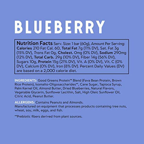 good! Snacks Vegan Blueberry Protein Bar | Gluten-Free, Plant Based, Low Sugar, Kosher, Soy Free, Non GMO | 15g Protein (12 Bars)