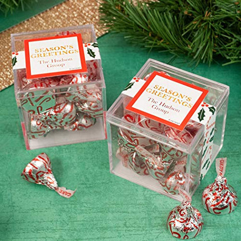 12 Personalized Christmas Candy Cane Poinsettia JUST CANDY favor cube with Hershey's Kisses (12 Count)