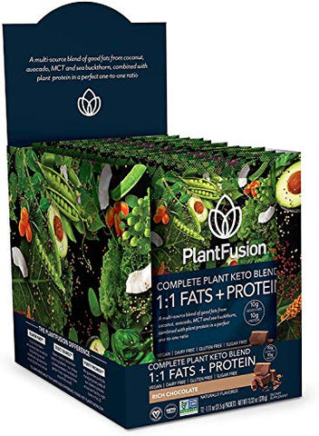 PlantFusion Complete Plant Based Keto Blend |1:1 Fats + Protein Powder Drink, Ketogenic Diet Supplement, MCTs, No Sugar, Gluten Free, Non Dairy, Vegan, Non Soy, Non GMO, Chocolate, 12 Single Servings