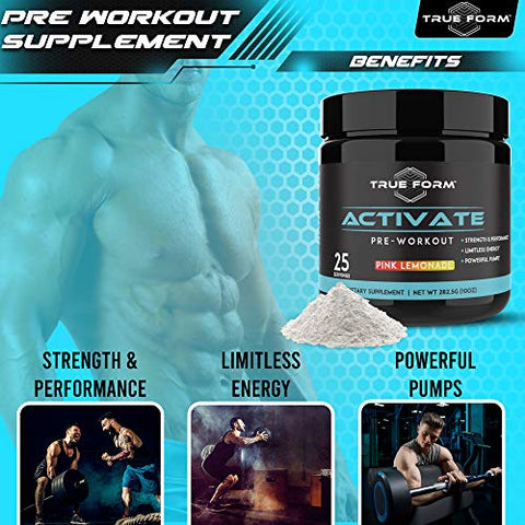 Activate Pre-Workout for Men and Women  Amino Acids Powder with Beta Alanine, Caffeine and L-Citrulline  Boost Energy, Built Muscle and Endurance for Powerful Pumps [Pink Lemonade]