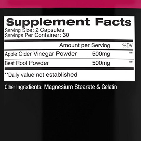 Angry Supplements Apple Cider Vinegar + Beet Root Capsules, Detox Pills, Nitric Oxide + Energy Booster (2-Bottles)