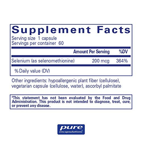 Pure Encapsulations - Selenium (Selenomethionine) - Hypoallergenic Antioxidant Supplement for Immune System Support - 60 Capsules