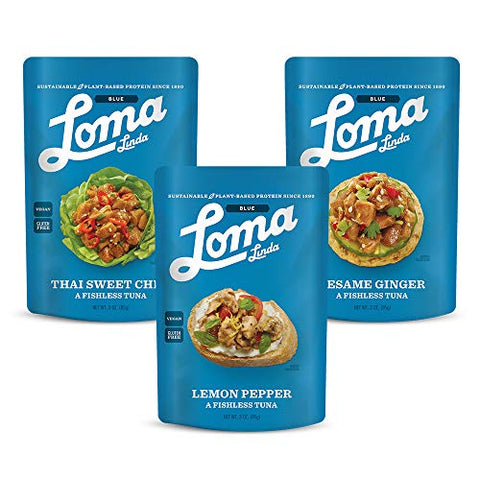 Loma Linda TUNO Sesame Ginger, Lemon Pepper, & Thai Sweet Ginger Fishless Tuna - Non-GMO (3 oz.) (Pack of 3)