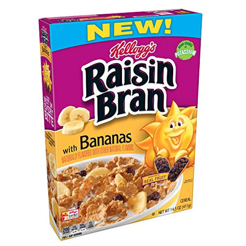 (Discontinued Version) Kellogg's Raisin Bran, Breakfast Cereal, With Bananas, Good Source of Fiber, 14.5 oz Box