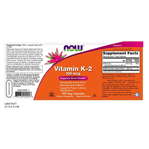 Now Supplements, Vitamin K 2 100 Mcg, Menaquinone 4 (Mk 4), Supports Bone Health*, 100 Veg Capsules