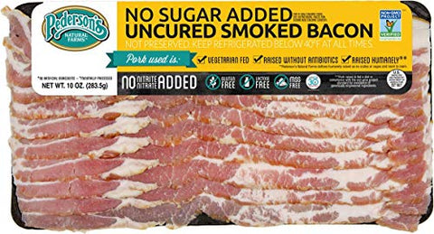 Pedersons Farms No Sugar Added Smoked Bacon (10 Pack) 10oz  Uncured, Whole 30 Approved, Keto Paleo Diet Friendly, No Nitrite Nitrate, Sugar Free Bacon, Made in the US