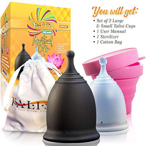 Talisi Reusable 2 Menstrual Cups - Period Cup Set for Women with Collapsible Sterilization Cup and Travel Bag - Feminine Menstruation Alternative to Tampons - Regular and Heavy Flow