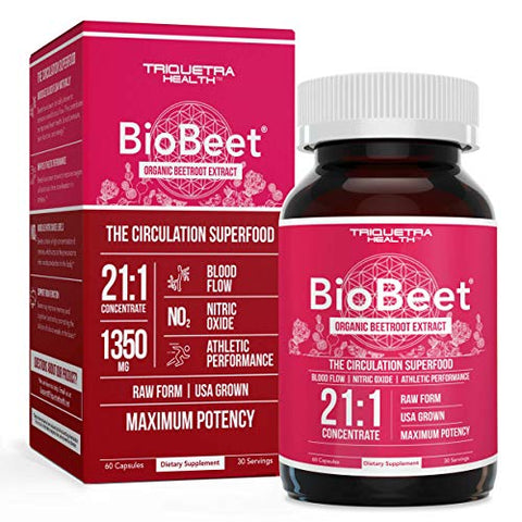 BioBeet Max Strength Beet Root Capsules - 21:1 Concentrate, Each Serving Derived from 28,350 mg Organic Beetroot - Absorption Enhancement with BioPerine Black Pepper Extract (60 Capsules)