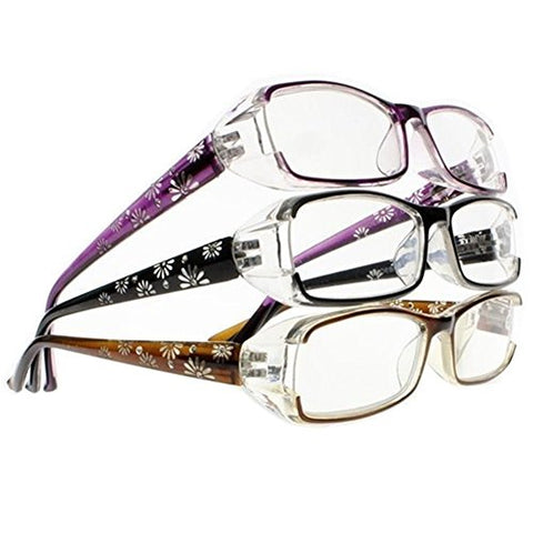 3 piece Fashion Spring Hinges Half-Transparent Frame Carved Flower Diamonds Legs Reading Glasses (Black & Purple & Brown, 2.50)