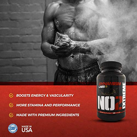 NO2 Extreme - Nitric Oxide Supplement with (AKG, OKG, GKG Amino Blend), Vitamin B6, Vitamin B12, Green Tea Extract | Rapid Muscle Building Pre-Workout | Increased Stamina & Performance | 120 Capsules
