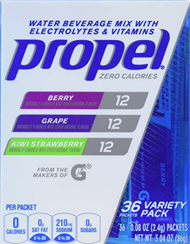 Propel Zero Calorie Nutrient Enhanced Water Beverage Mix (36 packets) (berry, grape & kiwi strawberry)