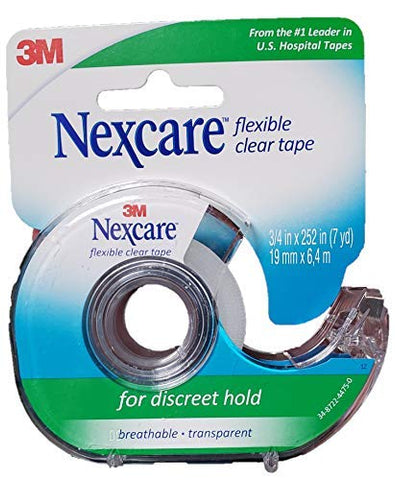 Nexcare Tape, Flexible Clear, 3/4 Inches X 252 Inches / 7 Yards (Pack of 6)