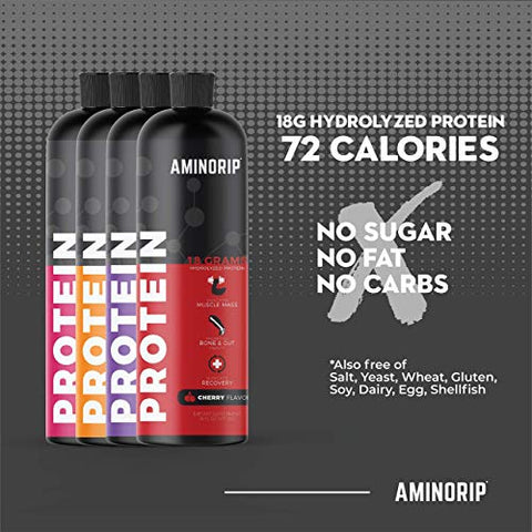 Liquid Protein Hydrolyzed by Aminorip. 18 Grams, 16 oz, No Fat, Sugar Free, No Carbs. Predigested Hydrolysate Supplement. Supports Recovers Muscles, Bones and Joints, Made in USA (Grape)