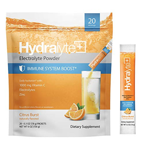Hydralyte Hydration Plus Immunity Support: 1,000mg Vitamin C, Zinc Plus 7 Key Electrolytes, Electrolyte Powder Packets with Antioxidant Immunity Support, Citrus 20 Count